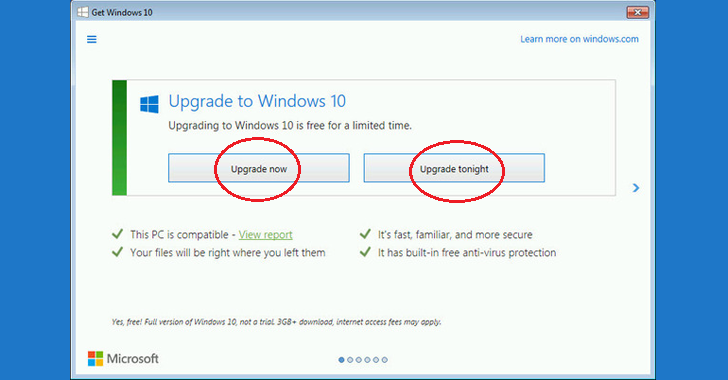 Bad Santa! Microsoft Offers — 'Upgrade now' or 'Upgrade tonight' to Push Windows 10
