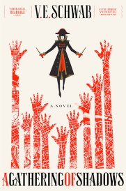 Cover of A Gathering of Shadows, featuring a black-coated figure brandishing two knives as they hover above a sea oc grasping red hands.