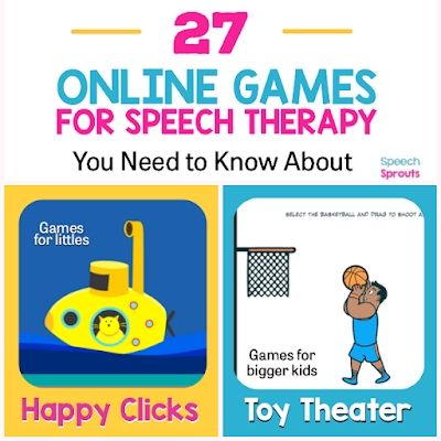 Teletherapy speech therapy activities like these 27 open-ended online games make planning easy! Find easy games for toddlers like Colorful Ships and great games for bigger kids like Frost Bite and Basketball. #speechsprouts #speechtherapygames  #speechtherapy #teletherapy