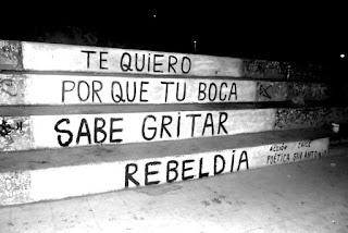 """""""Te quiero porque tu boca sabe gritar rebeldía"""". Mario Benedetti - Te quiero"""