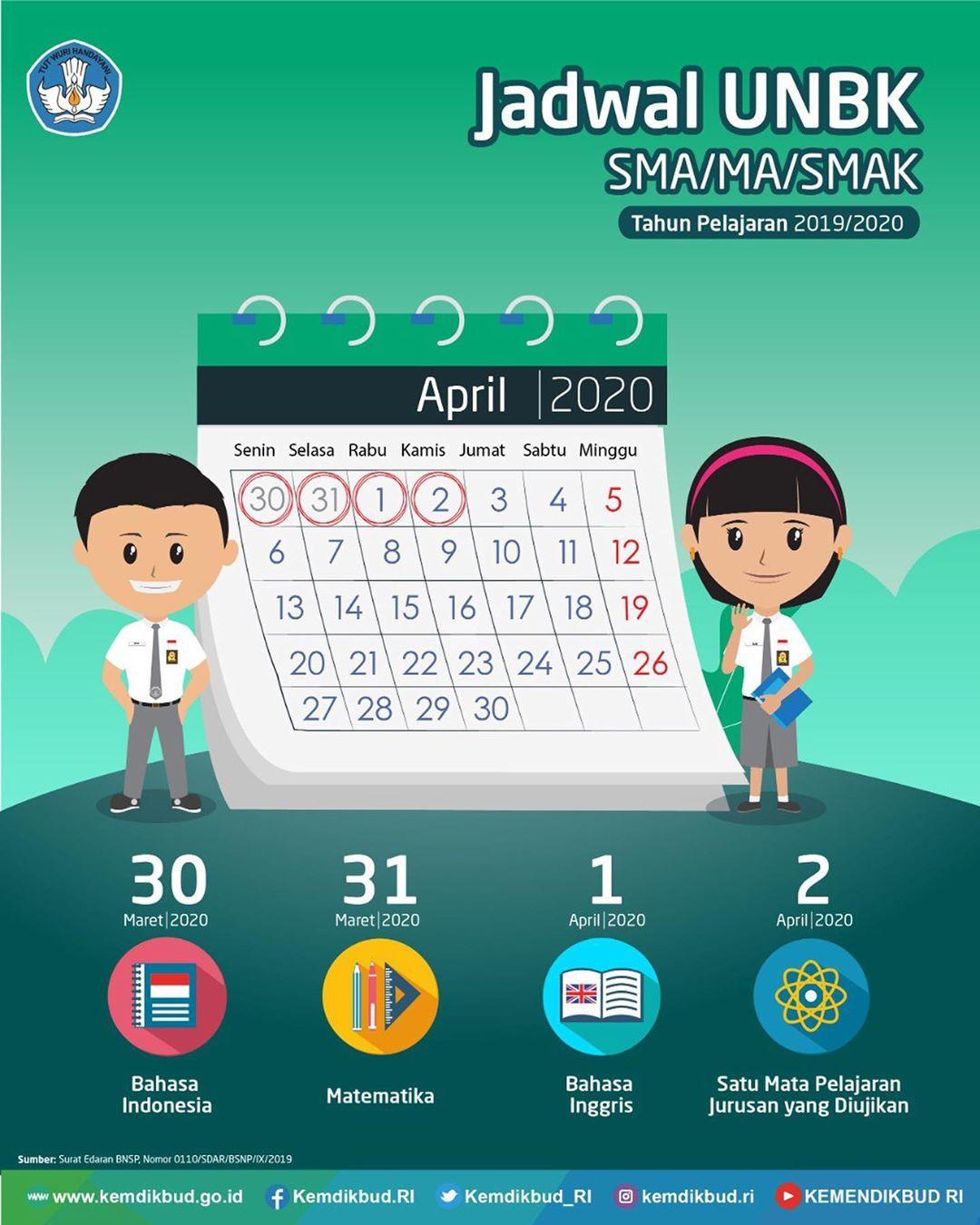 Jadwal UNBK SMA MA SMAK Tahun Pelajaran 2019/2020