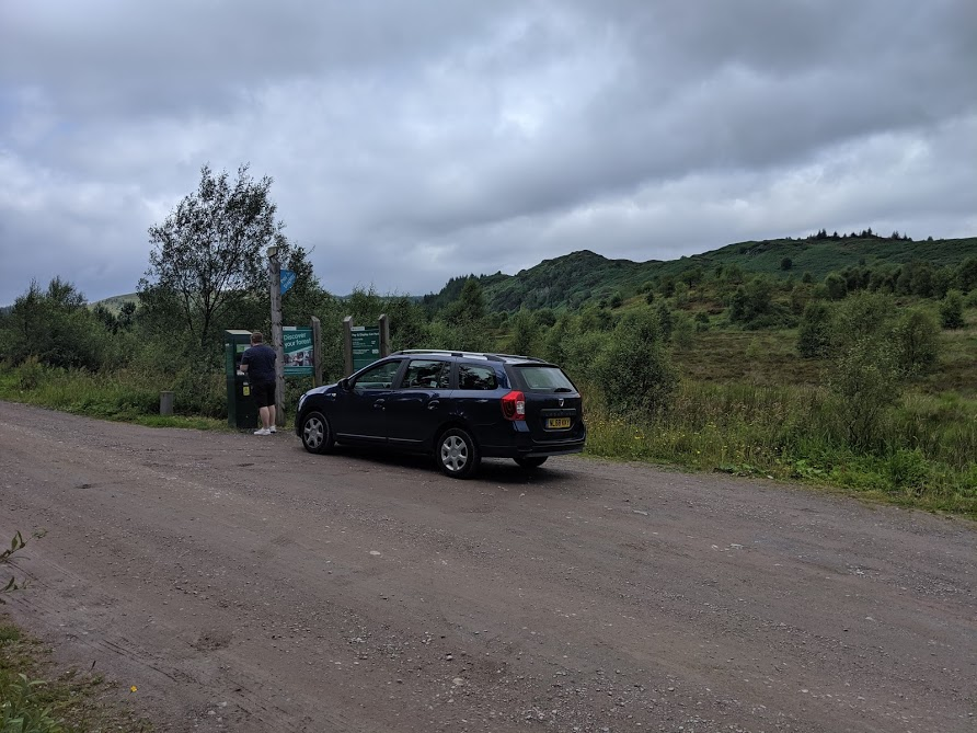The Three Lochs Forest Drive - A Good Spot for Wild Camping with Kids  - car parking ticket