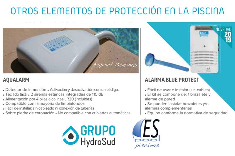 Aqualarm y alarma blue protect, elementos de protección y seguridad en la piscina. De venta en Espool Piscinas.