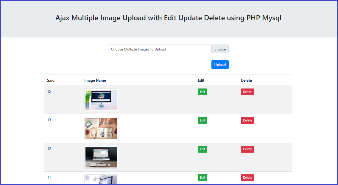 Upload Multiple Image View Edit Update and Delete using jquery AJAX in PHP Mysql,Ajax Multiple Image Upload with Edit Update Delete using PHP Mysql
