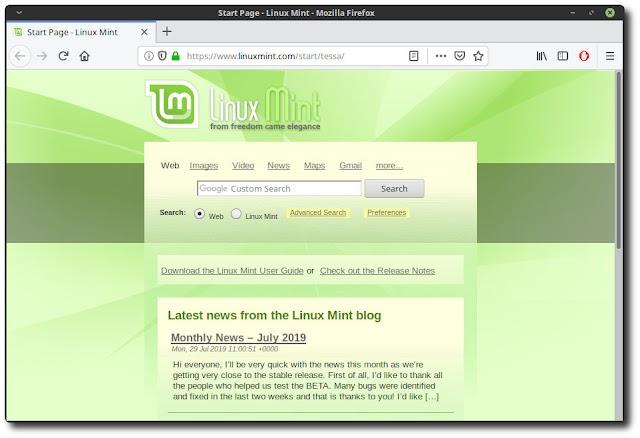 Como alterar a página inicial do navegador do Linux Mint