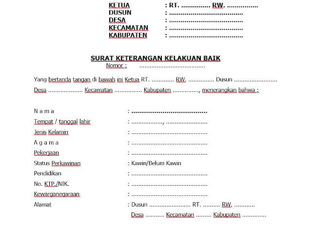 Contoh Surat Keterangan Kelakuan Baik Dari Desa Pengantar SKCK