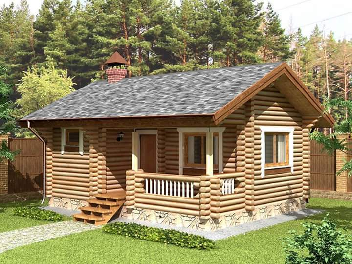 Beautiful simple wood house and log house design bahay ofw for Simple log cabin plans free