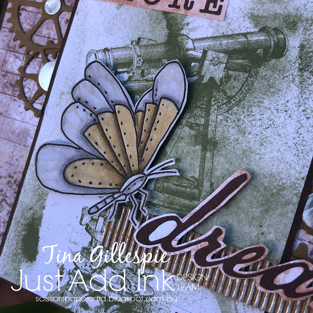 scissorspapercard, Stampin' Up!, Just Add Ink, A Touch Of Ink, Mr Funny Bones, Sweet Ice Cream, World Of Good Suite, Tim Holtz Cogs Dies