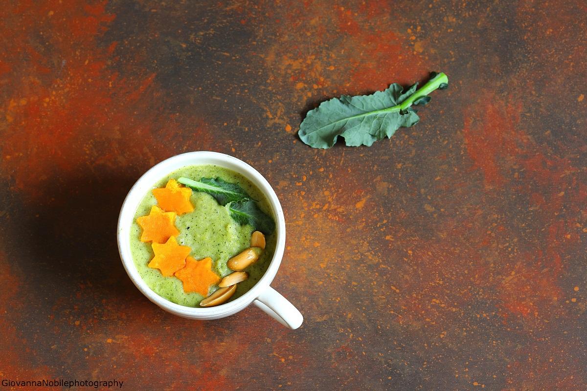 Vellutata di broccoli, con zucca e radicchio
