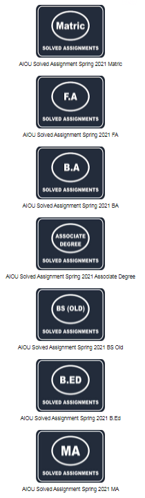 AIOU Solved Assignment 2021 spring and autumn