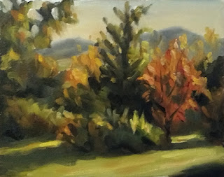Landscape oil painting of trees with autumn leaves and cast shadows.