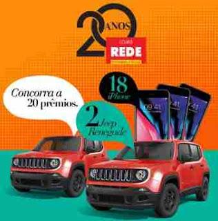 Promoção Lojas Rede 20 Anos Aniversário 2018 Concorra Dois Jeeps Renegade