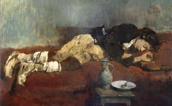"""""""Sleeping Savoyard Boy"""" by Wilhelm Leibl (1869)"""