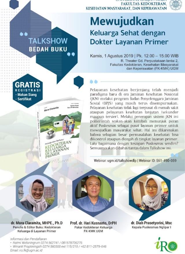 """Free Webinar Talkshow Bedah Buku """"Mewujudkan Keluarga Sehat dengan Dokter Layanan Primer"""" (Kamis, 1 Agustus 2019 pukul 12.00 – 15.00 WIB)"""