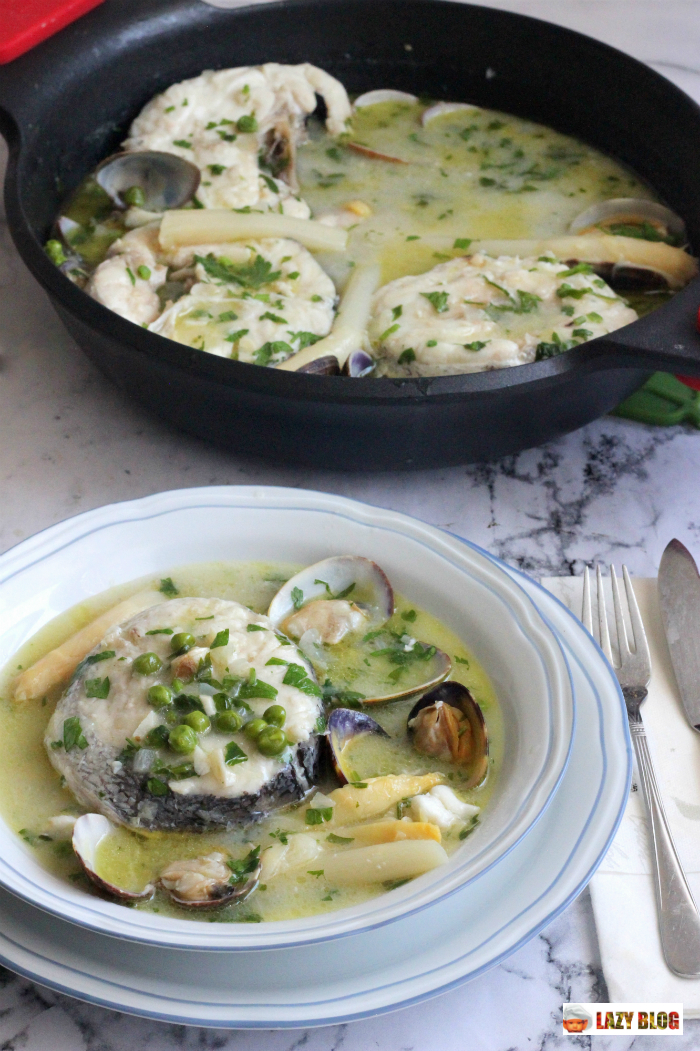 Lazy blog como hacer merluza en salsa verde koskera o for Como preparar almejas en salsa