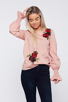 Bluza dama LaDonna rosa brodata cu croi larg