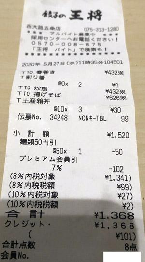 餃子の王将 西大路五条店 2020/5/27 テイクアウトのレシート