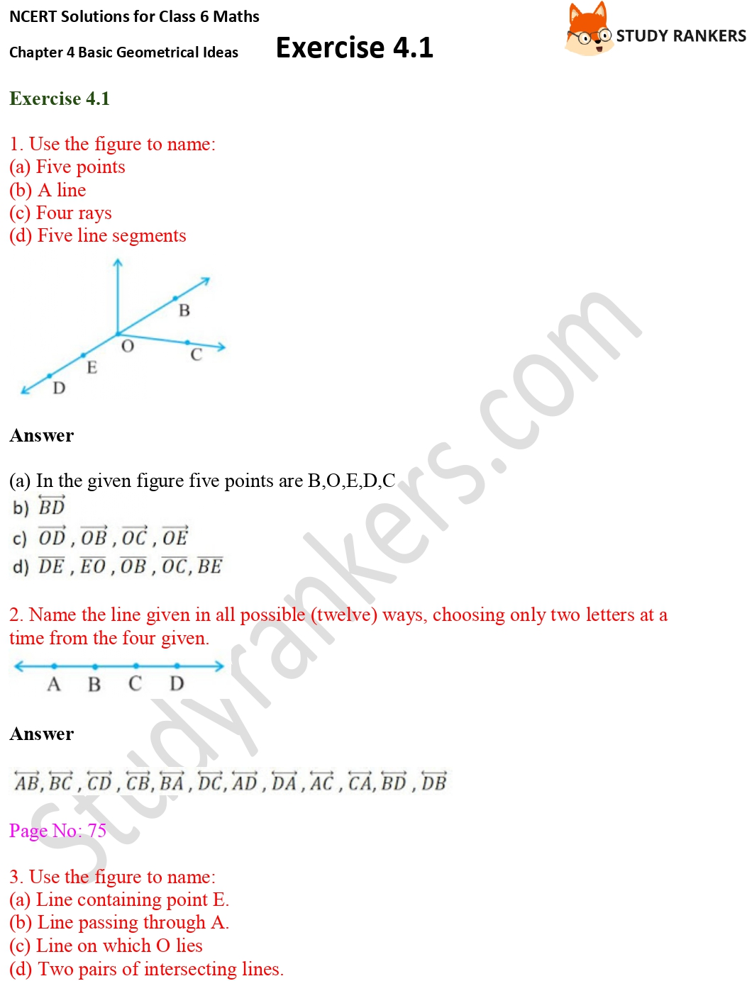 NCERT Solutions for Class 6 Maths Chapter 4 Basic Geometrical Ideas Exercise 4.1 Part 1