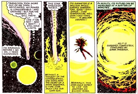 Jean Grey matando una galaxia y un Sol