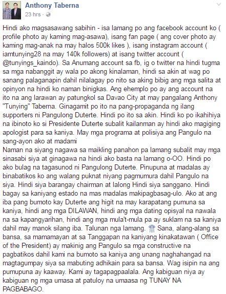 """Anthony Taberna On Criticizing Duterte - 'Ako at ang iba pang bumoto kay Duterte ang may karapatang pumuna sa kaniya, hindi ang mga DILAWAN"""""""