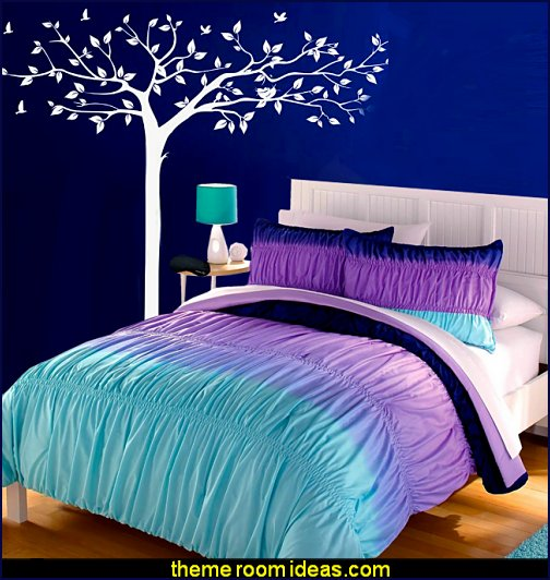 Aqua Blue Purple Ruffle Ruched Ombre Chevron Teen Girl Comforter