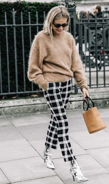 trendy winter outfit / plaid pants + bag + sweater + silver boots