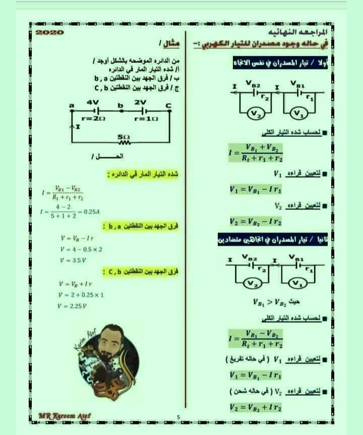 8 ورقات مهمين لمراجعة الفيزياء للصف الثالث الثانوي 5