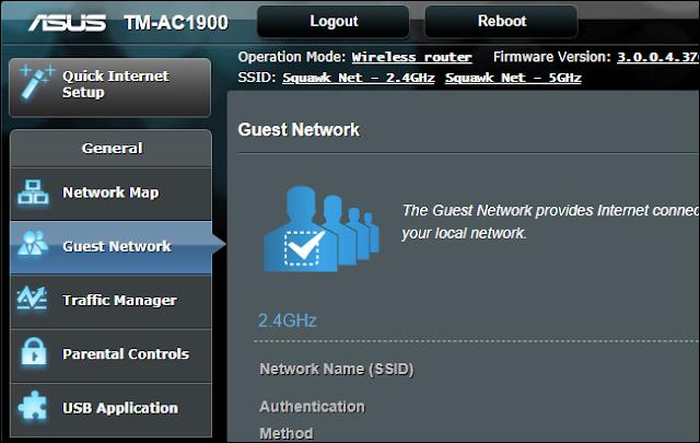 خيار شبكة الضيف على جهاز توجيه آسوس
