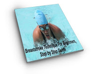 image of young woman as she takes a breath swimming breaststroke in the pool: Breaststroke Technique For Beginners, Step by Step Guide cover