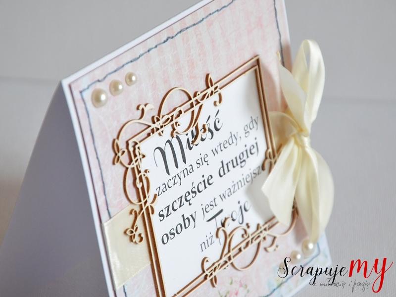 Pastelowy ślub, kartka ślubna, zaproszenie z cytatem