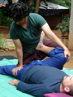Thai Massage with client in Supine position