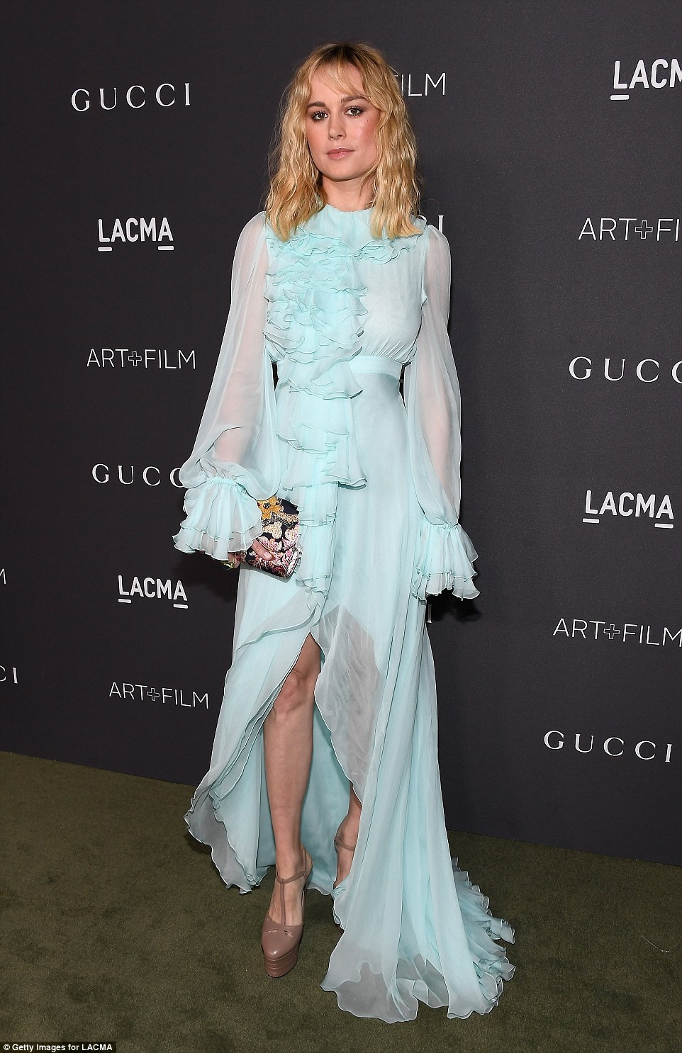 Brie Larson wears feathery turquoise gown to the LACMA Art + Film Gala in LA