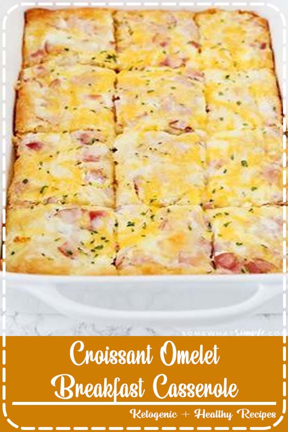This delicious croissant omelet breakfast casserole is an easy recipe that is perfect for Croissant Omelet Breakfast Casserole