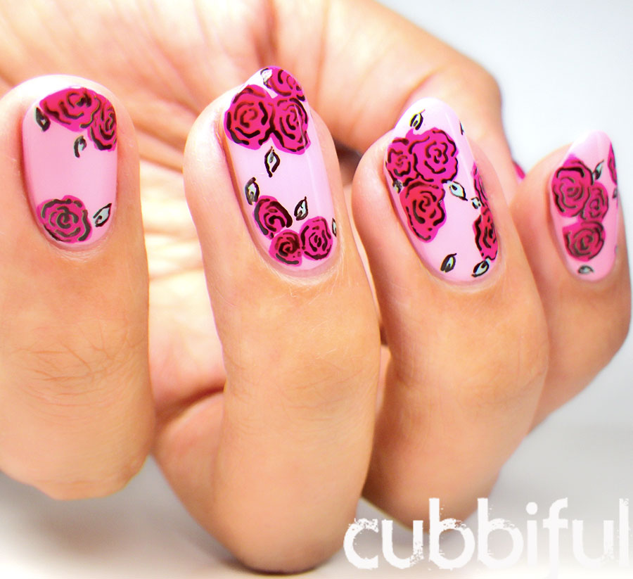 Valentine's Roses Nails
