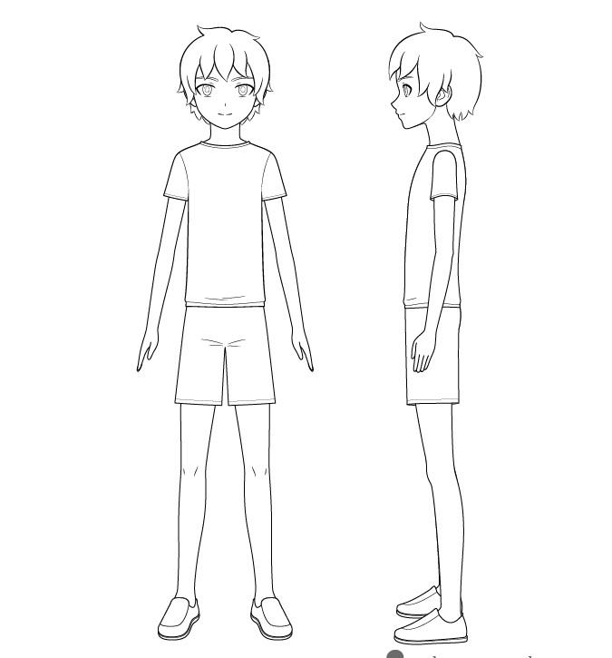 Anime anak laki-laki gambar garis tubuh penuh
