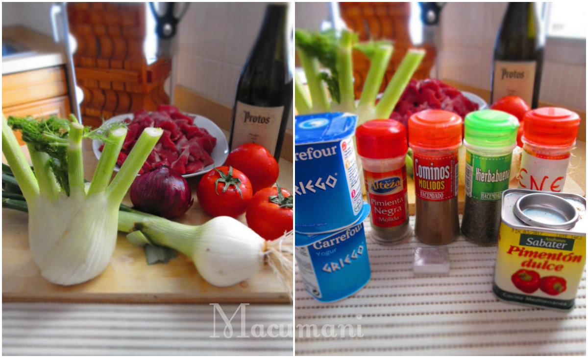 Ingredientes para hacer ternera a la griega