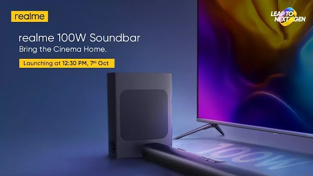 Realme to launch 100W soundbar on October 7 at 12:30 pm.