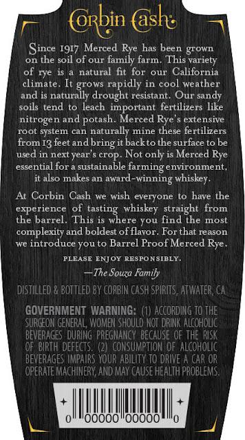 Corbin Cash 1917 Merced Rye Whiskey Barrel Proof