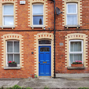 Blue door of Dublin in the South Lotts neighborhood