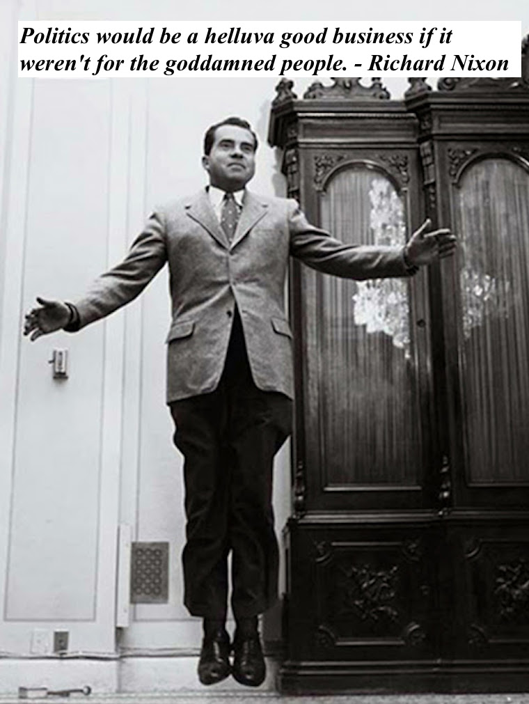 Philippe Halsman photo Richard Nixon, 1956 Nixon appears to float. Politics would be a helluva good business if it weren't for the goddamned people. - Richard M. Nixon marchmatron.com