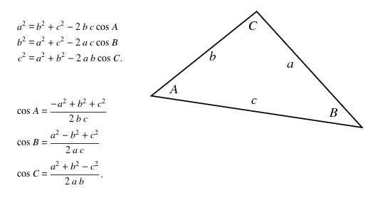 משפט הקוסינוסים - תיאור ומשוואות