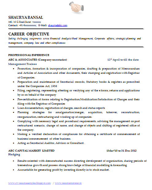 over 10000 cv and resume samples with free download  best resume format for company secretary