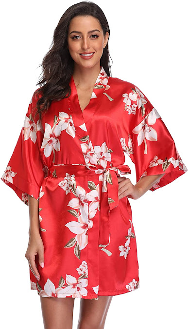 Good Quality Women's Red Satin Robes