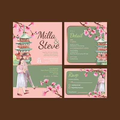 Wedding card with cherry blossom concept design watercolor