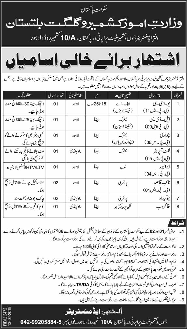 Gilgit Baltistan Jobs 2019