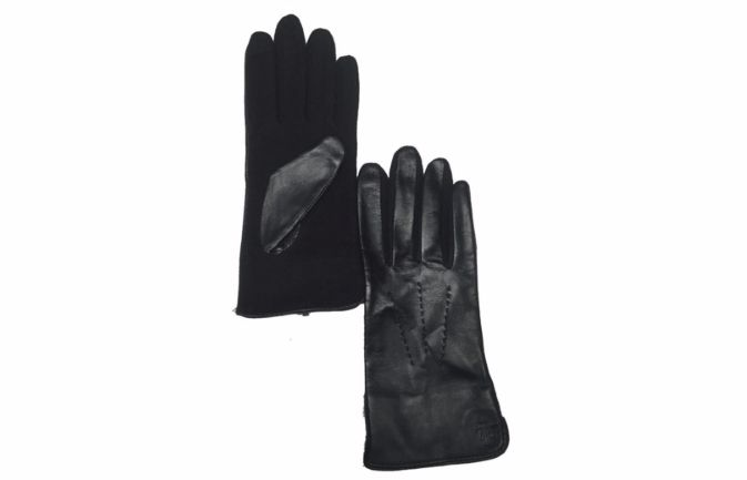Ralph Lauren Black Leather & Wool Touch Gloves