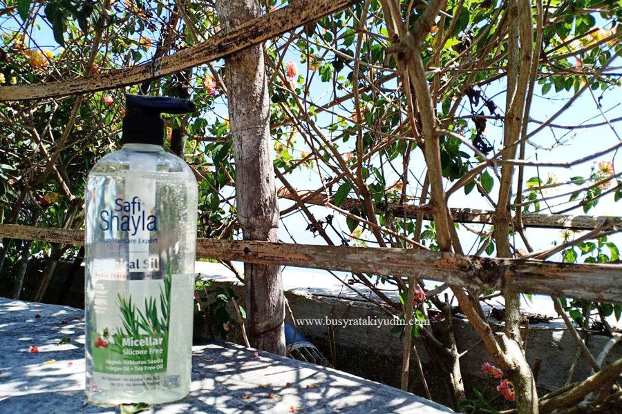 product review, safi shayla botanical silk micellar shampoo, 100% bahan botanikal, tahan 48 jam, argan oil, organic habbatus sauda, tea tree oil,