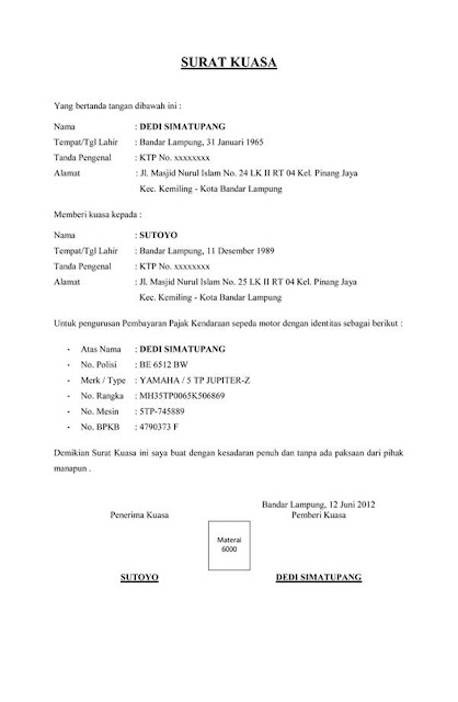 contoh surat kuasa pengurusan / pembayaran untuk STNK / BPKB / SIM