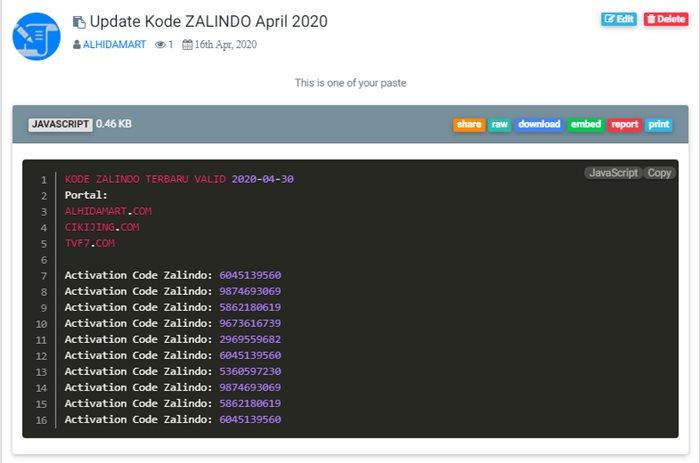 Kode ZALINDO 2020 - pastetvf7