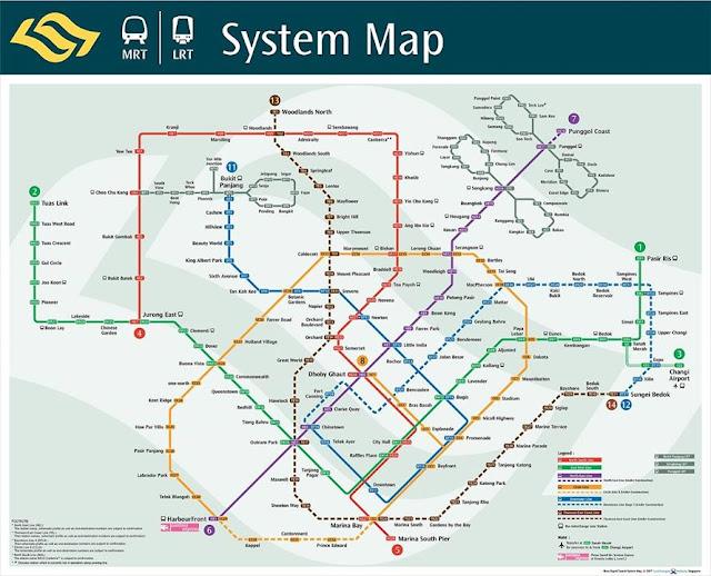 hệ thống MRT Singapore có 5 tuyến được đánh dấu bằng 5 màu khác nhau